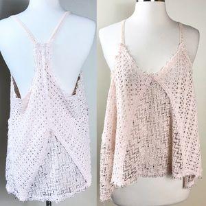 EUC✨FREE PEOPLE Crochet Swing Tank Pale Pink Small